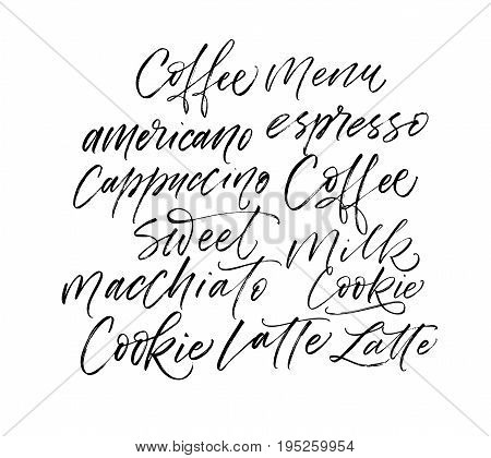 Coffee Latte Milk Macchiato Americano card. Ink illustration. Modern brush calligraphy. Isolated on white background.
