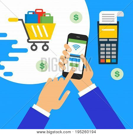 illustration of modern smartphone with processing of mobile payments from credit card on the screen. Online shopping concept