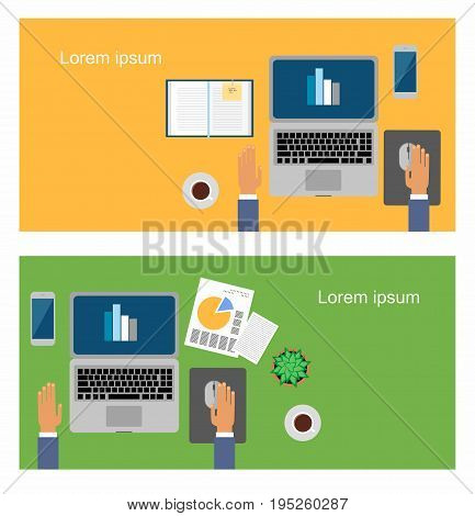 Stock Vector Illustration: male in the workplace. Hands desks laptop screen vector illustration of business people Top View angle above the office