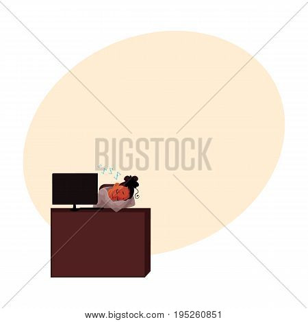 Black, African American businesswoman, secretary, sleeping, snoozing at office desk, cartoon vector illustration with space for text. Black businesswoman, secretary snoozing at computer