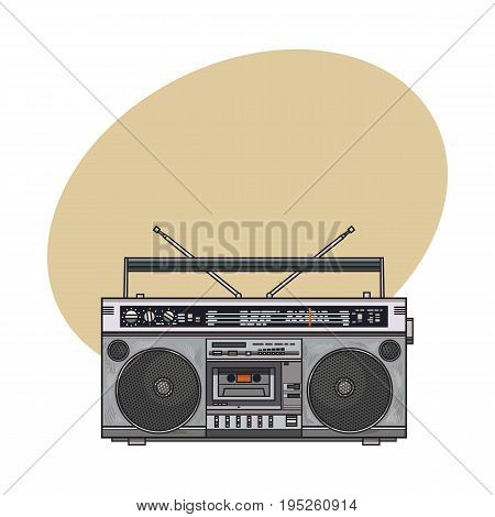 Old fashioned, retro style audio tape recorder, ghetto boom box from 90s, sketch vector illustration with space for text. Front view of hand drawn audio tape recorder, boom box