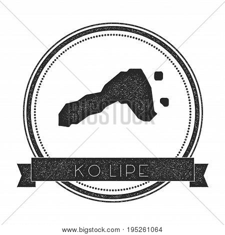 Ko Lipe Map Stamp. Retro Distressed Insignia. Hipster Round Badge With Text Banner. Island Vector Il