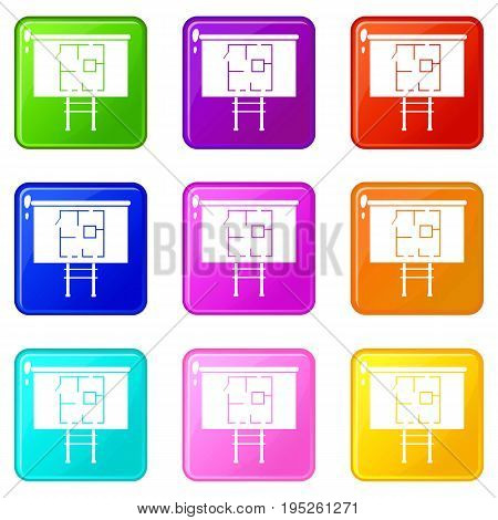 Project of house on a board icons of 9 color set isolated vector illustration
