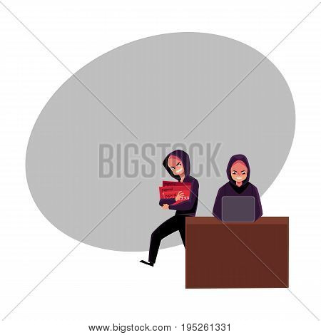 Hacker using laptop for cybercrime, breaking pin code, stealing money from credit card, cartoon vector illustration with space for text. laptop hacking, breaking, cracking, credit card fraud