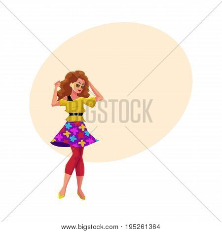 Woman, girl in 1980s style clothes, sweater, skirt and leggings, dancing disco, cartoon vector illustration with space for text. Woman in 80s style clothing dancing at retro disco party