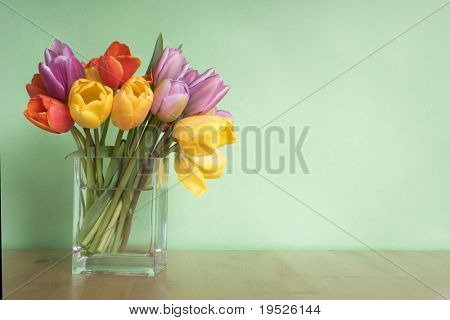 vase of tulips on table - green background - copy space