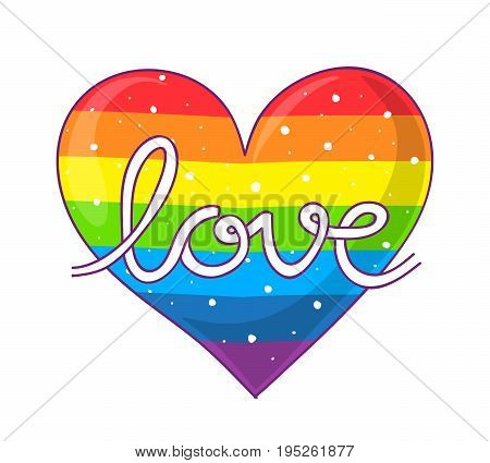 Hand lettering of the word love on a rainbow colored heart with dots for LGBTQIAP pride
