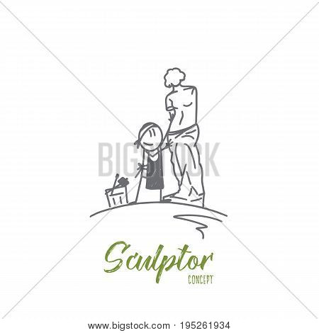 Sculptor concept. Hand drawn sculptor cuts stone sculpture. Smiling person makes art work from stone isolated vector illustration.