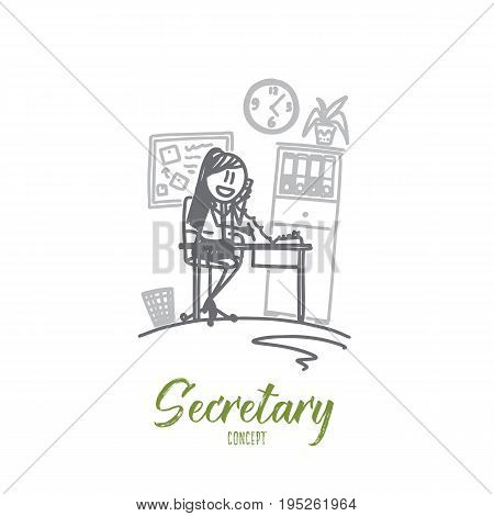 Secretary concept. Hand drawn female clerk at her workplace. Secretary working at office isolated vector illustration.