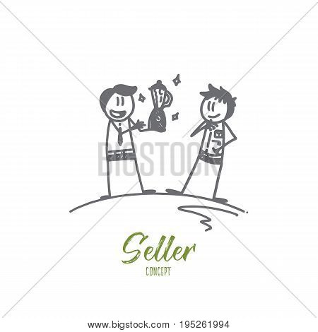 Seller concept. Hand drawn sale manager with the goods and buyer. Professional seller isolated vector illustration.