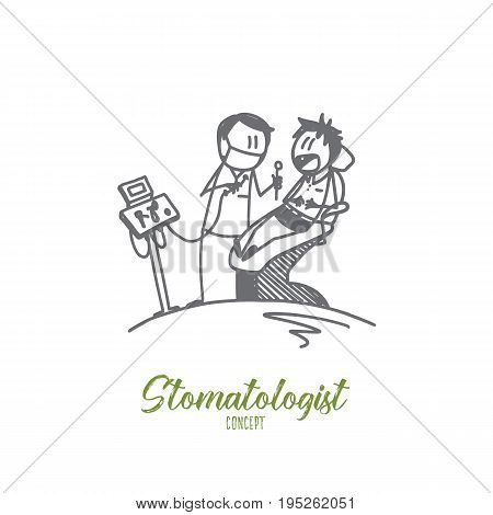 Stomatologist concept. Hand drawn dentist with happy patient at clinic. Chair in the dentist's office isolated vector illustration.