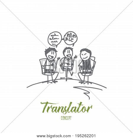 Translator concept. Hand drawn translator in negotiations. Interpreter and speakers isolated vector illustration.