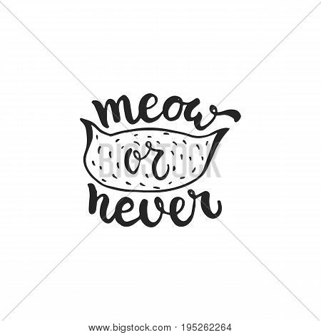 Meow or never - hand drawn dancing lettering quote isolated on the white background. Fun brush ink inscription for photo overlays, greeting card or t-shirt print, poster design