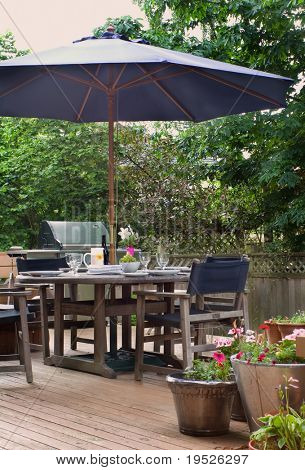 lunch on the patio - the table is set