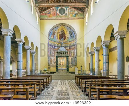 Rome Italy march 24 2017: Interior with the central nave of the ancient basilica church of San Saba in Rome.