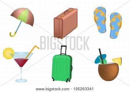 Set of Summer vacation. objects. Umbrella, flip flops, pina colada and cosmopolitan cocktail, suitcases and other isolated on white background