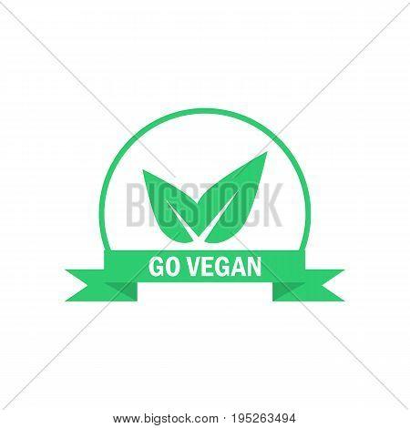 Go vegan label. Green food icon. Suitable for vegetarian sticker. Vector