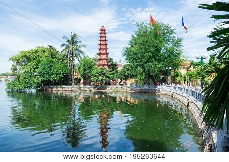Tran Quoc Pagoda, the oldest Buddhist temple in Hanoi, Vietnam, located on the shores of West Lake.
