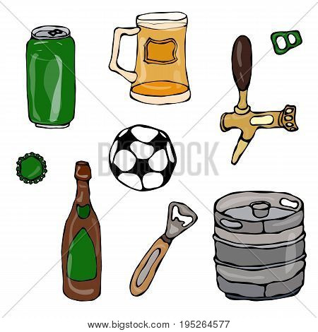 Set of Beer Objects: Can and Key, Mug, Tap, Bottle, Football Ball, Opener, Keg. Realistic Doodle Cartoon Style Hand Drawn Sketch Vector Illustration. Isolated On a White Background.