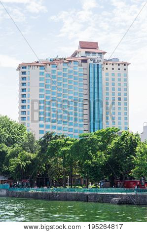 Hanoi, Vietnam - August 16, 2015: the Sofitel Plaza Hanoi sits on the shore of the West Lake, the largest urban lake in Hanoi. Sofitel is a luxury hotel brand within the Accor group.