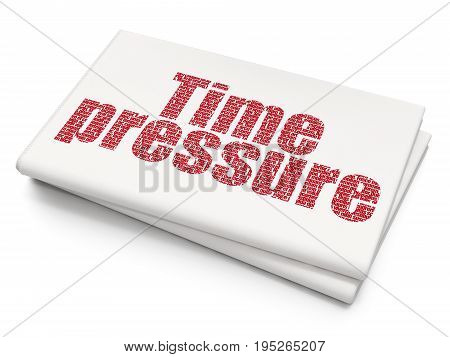Time concept: Pixelated red text Time Pressure on Blank Newspaper background, 3D rendering