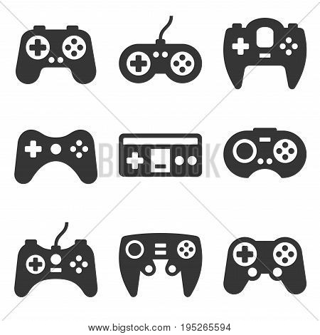 Gamepads Icon Set on White Background. Vector illustration