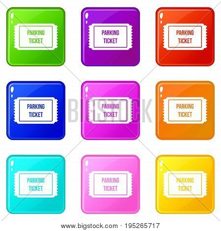 Parking ticket icons of 9 color set isolated vector illustration