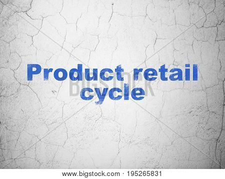 Advertising concept: Blue Product retail Cycle on textured concrete wall background
