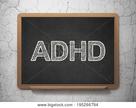 Medicine concept: text ADHD on Black chalkboard on grunge wall background, 3D rendering