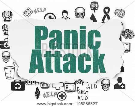 Healthcare concept: Painted green text Panic Attack on Torn Paper background with  Hand Drawn Medicine Icons
