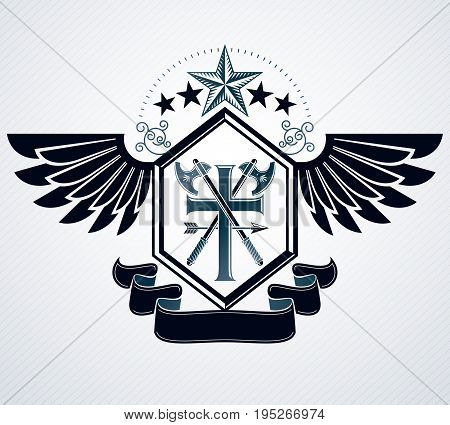 Heraldic design vector vintage emblem created using religious cross and two axes crossed