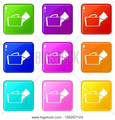Medical bag icons of 9 color set isolated vector illustration