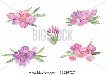 Vintage romantic of fashionable bouquets of flowers. Summer flowers for decorating postcards, scrapbooking, fancywork, invitations. Vector design elements.