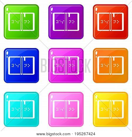 Braille icons of 9 color set isolated vector illustration