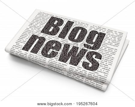 News concept: Pixelated black text Blog News on Newspaper background, 3D rendering