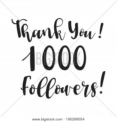 Thank you design template for online social network and followers. Media achievement.