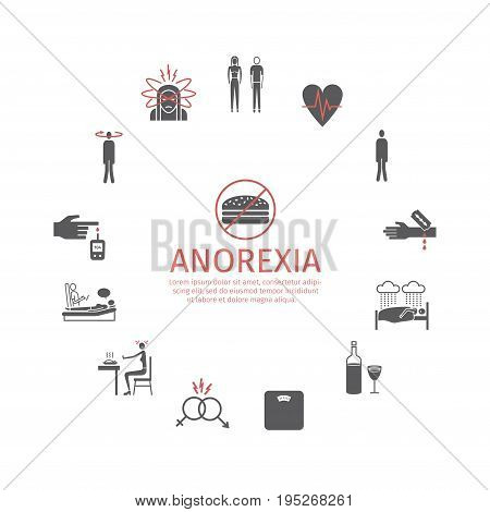 Anorexia. Symptoms, Treatment. Icons set Vector signs for web graphics