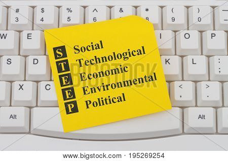 STEEP analysis on the internet A close-up of a keyboard with note with text STEEP Social Technological Economic Environmental Political