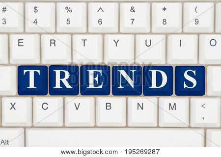 Trends analysis on the internet A close-up of a keyboard with blue highlighted text Trends 3D Illustration