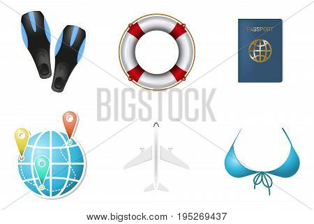 Set of summer vacation objects 2. Diving or swimming flippers, lifebuoy, passport and other illustrations isolated on white background