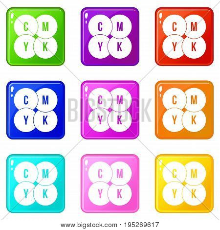 CMYK circles icons of 9 color set isolated vector illustration