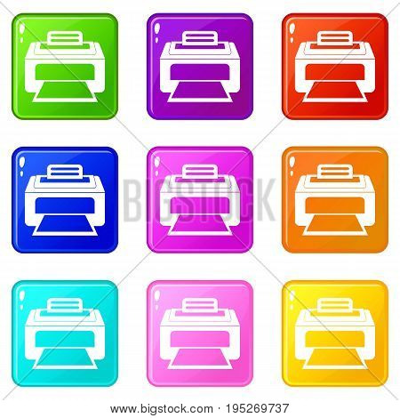 Modern laser printer icons of 9 color set isolated vector illustration