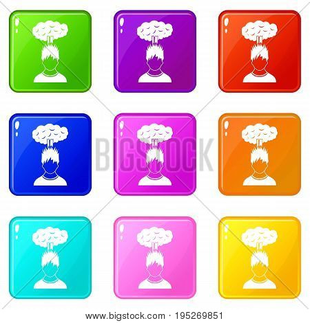 Man with red cloud over head icons of 9 color set isolated vector illustration