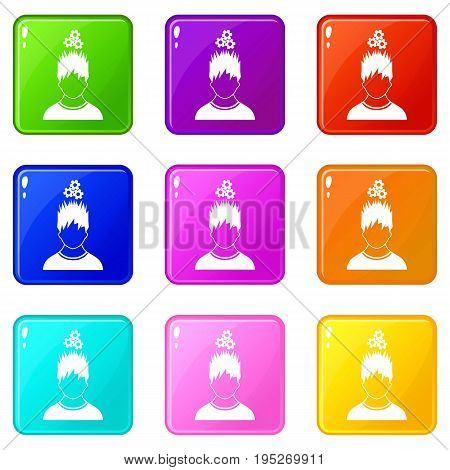 Man with metal gears over head icons of 9 color set isolated vector illustration