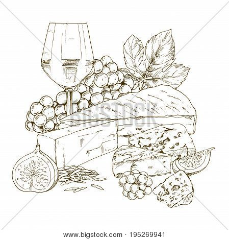 Pile of hand drawn cheese with wine bottle, glass of wine, grape and fig. Vector hand drawn illustration.