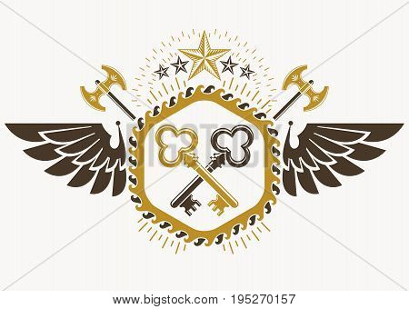 Classy emblem made with bird wings decoration keys and pentagonal stars. Vector heraldic Coat of Arms.