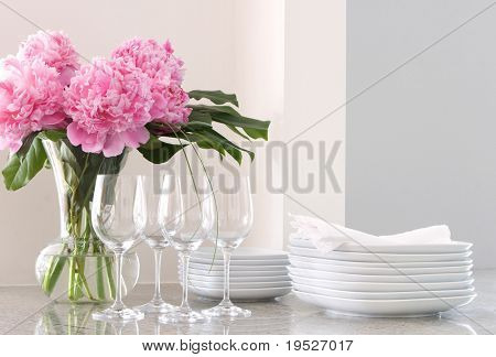 white plates & napkins, wine glasses & peonies - home entertainment