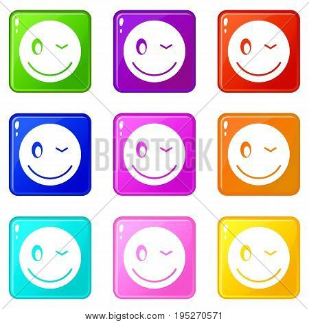 Eyewink emoticons of 9 color set isolated vector illustration