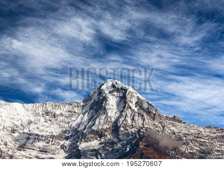 Mountain peak in Annapurna massif - view from Poon Hill on Annapurna Circuit Trek in the Nepal Himalaya