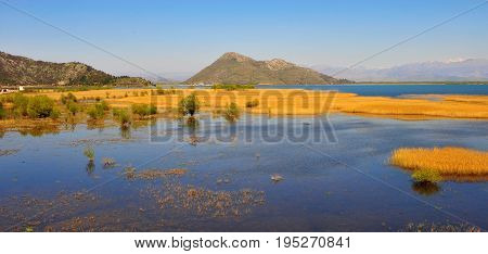 Panoramic view of Skarad lake on summer national park of Montenegro